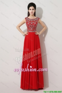 Discount Brush Train Beaded Prom Dresses with Bateau