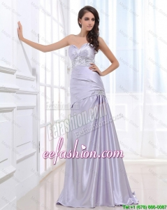 Fashionable Column Elastic Woven Satin Prom Dresses with Beading