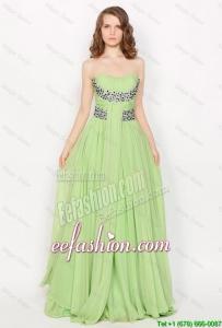 Gorgeous Strapless Brush Train Prom Dresses in Apple Green