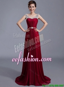Lovely Brush Train Scoop Zipper Up Prom Dresses in Wine Red