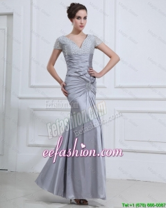 Lovely Mermaid V Neck Prom Dresses with Beading in Silver