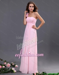 2016 Beauriful Empire One Shoulder Prom Dresses with Hand Made Flowers