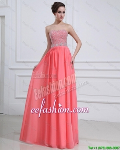 2016 Popular Watermelon Sweetheart Prom Dresses with Beading
