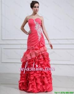 2016 Pretty Appliques and Ruffles Mermaid Prom Dress
