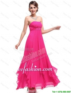 Beautiful Ankle Length Hot Pink Prom Dresses with Beading