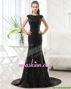 Beautiful Column Bateau Brush Train Sequins Prom Dresses in Black
