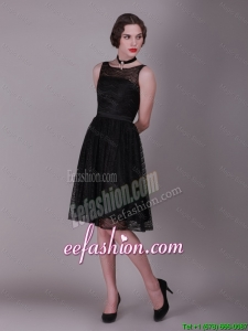 Best Selling 2016 Bateau Belt Laced Prom Gowns in Black