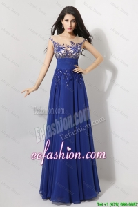 Cheap Cap Sleeves Prom Dresses with Appliques and Beading