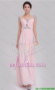 Cheap Empire Off The Shoulder Cap Sleeves Pink Prom Dresses with Beading