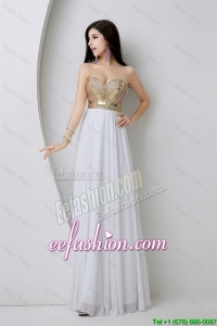 Cheap Empire Sequined White Prom Dresses with Beading