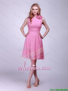 Classical Rose Pink Prom Dresses with Pleats and Hand Made Flowers for 2016