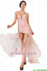 Classical Side Zipper Ruched Prom Dresses with Asymmetrical