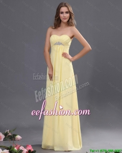 Custom Made Yellow Long Prom Dresses with Beading for 2016