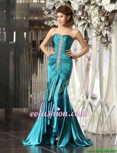 Exclusive Mermaid Brush Train Beaded Prom Dresses in Teal