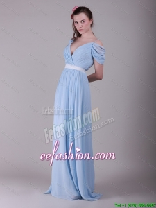 Exclusive Spaghetti Straps Light Blue Prom Dresses with Ruching and Belt