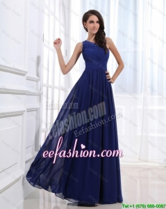 Fashionable Empire One Shoulder Prom Gowns with Beading