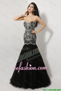 Gorgeous Mermaid Sweetheart Beaded Prom Dresses in Black