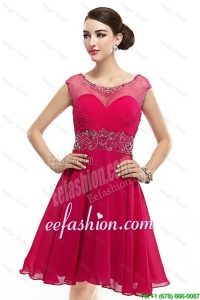 Great Mini Length Scoop Hot Pink Prom Dresses with Cap Sleeves