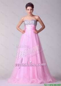 Lovely Princess Sweetheart Rose Pink Prom Dresses with Brush Train