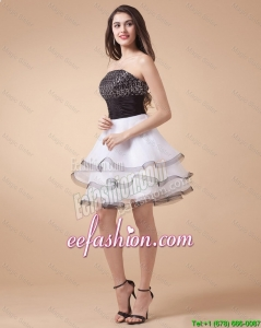 Lovely Sequined White and Black Prom Dresses with Mini Length