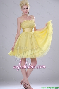 Lovely Yellow Mini Length Prom Dresses with Spaghetti Straps