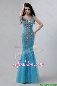 Luxurious Mermaid Beaded Prom Dresses with V Neck