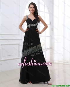New Style Empire Straps Beading Prom Dresses in Black for 2016