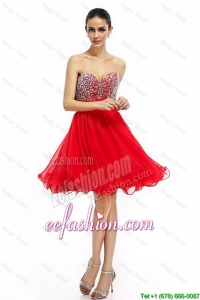 Perfect A Line Sweetheart Beaded Prom Dresses in Red