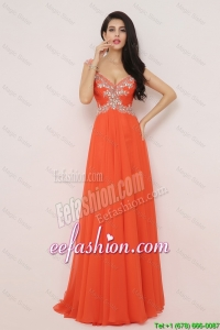 Wonderful Brush Train Prom Dresses with High Slit and Beading