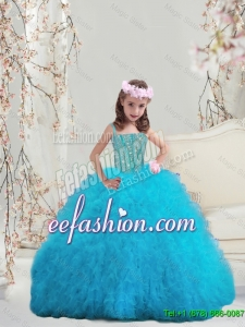 2015 Winter Popular Beaded and Ruffles Spaghetti Mini Quinceanera Dresses in Turquoise