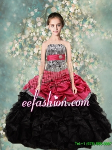 2015 Winter Popular Strapless Mini Quinceanera Dresses with Zebra and Ruffles