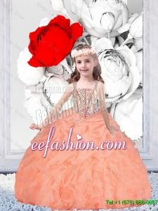 2015 Winter Popular Straps Organza Mini Quinceanera Dresses with Beading