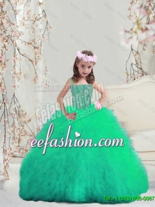 Sweet Spaghetti Apple GreenMini Quinceanera Dresses with Beading and Ruffles