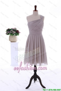 2015 Summer Empire One Shoulder Ruching Short Prom Dresses in Grey