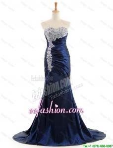 Custom Made Mermaid Royal Blue Prom Dresses with Brush Train