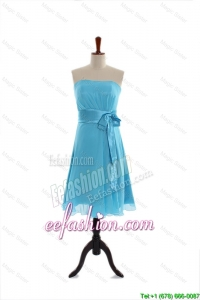 Discount Belt and Bowknot Short Prom Dress in Aqua Blue for 2016