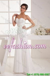 Classical Column Sweetheart Wedding Dresses with Brush Train