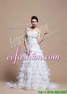 2016 Custom Made A Line Strapless Wedding Dresses with Ruffled Layer