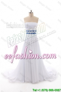 Classical Empire Strapless Wedding Dresses with Belt and Bowknot