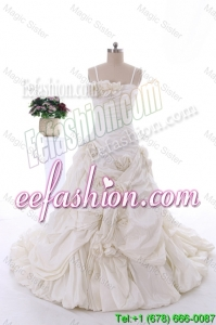 Classical Hand Made Flowers Court Train Wedding Dresses