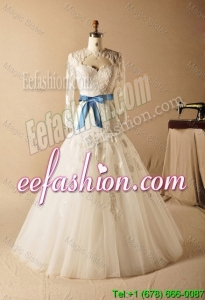Custom Made A Line High Neck Appliques Wedding Dresses with Ribbons