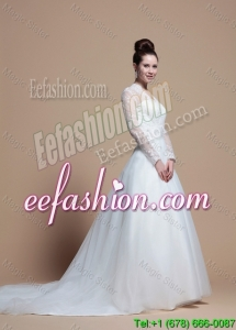 Custom Made A Line V Neck Wedding Dresses with Appliques