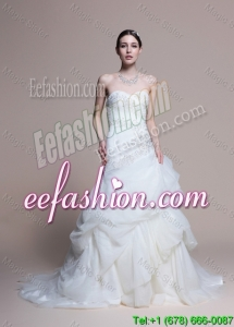 Elegant A Line Sweetheart Court Train Wedding Dresses