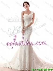 Exquisite Beading and Feather Mermaid White Wedding Dresses for 2016
