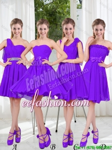 2016 Fall A Line Bowknot Bridesmaid Dresses in Purple