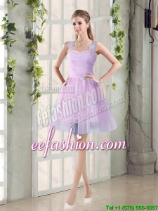 2016 Summer A Line Straps Ruching Prom Dresses with Hand Made Flowers