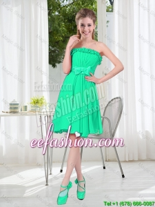 A Line Strapless Turquoise Prom Dresses for Spring