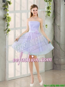 Artistic A Line Strapless Belt Prom Dresses with Hand Made Flowers