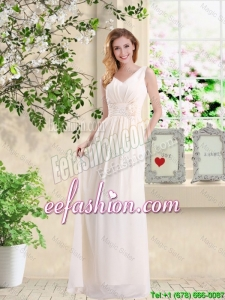 Beautiful V Neck Lace Up Prom Dresses with Hand Made Flowers