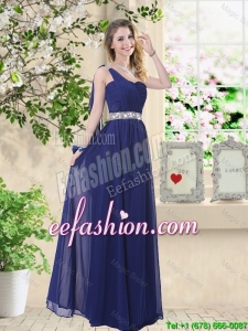 Comfortable One Shoulder Prom Dresses in Navy Blue